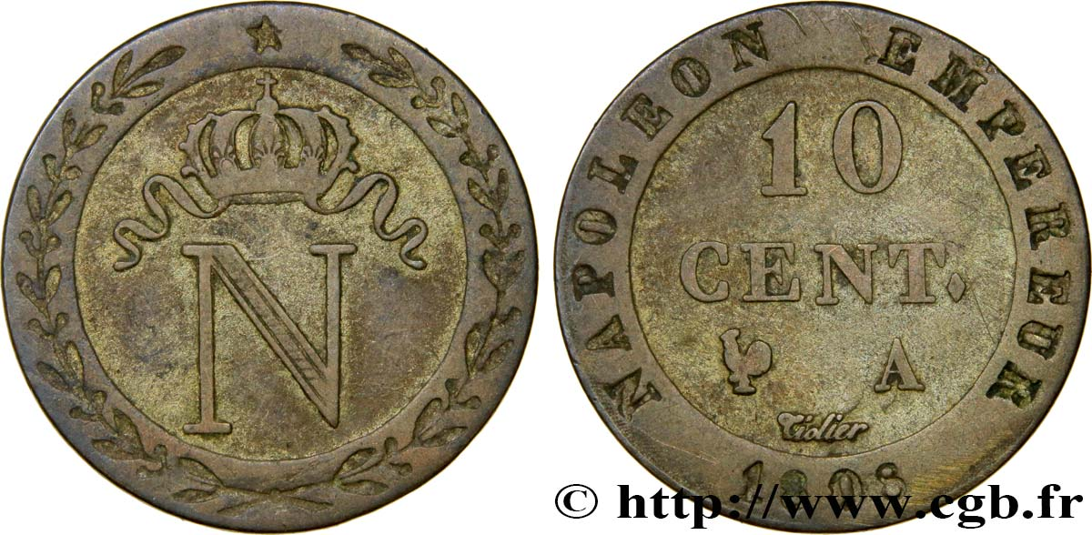 10 cent. à l N couronnée 1808 Paris F.130/2 TB35
