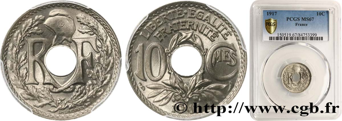 10 centimes Lindauer 1917  F.138/1 FDC67 PCGS