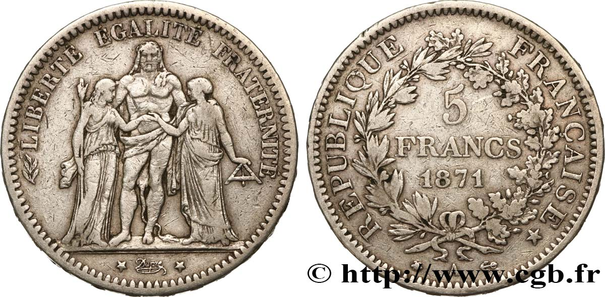 5 francs Hercule 1871 Paris F.334/2 TB30