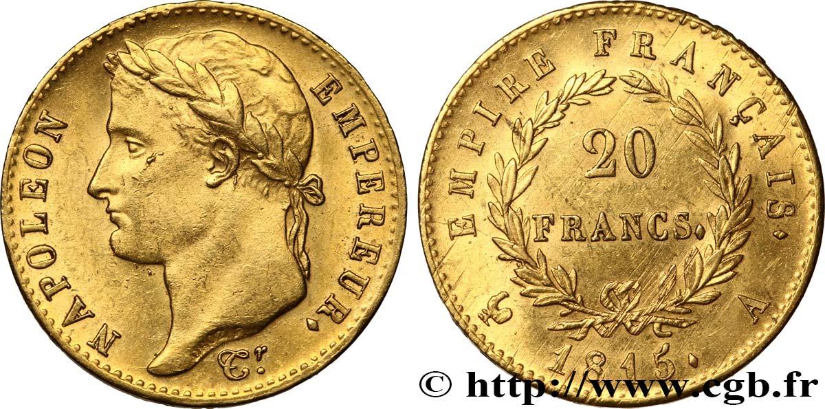 20 francs or Napoléon tête laurée, Cent-Jours 1815 Paris F 516A/1