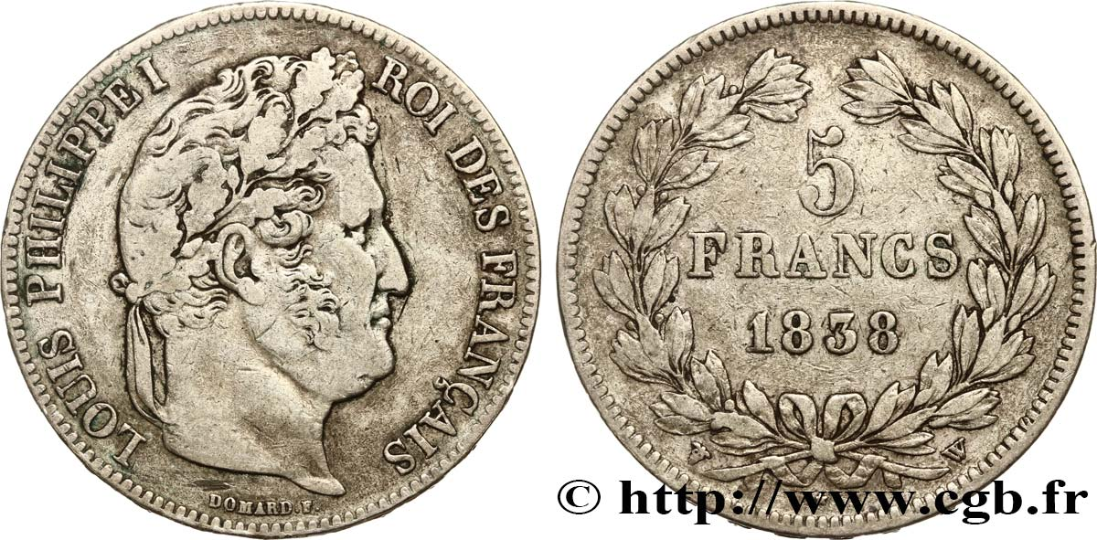 5 francs IIe type Domard 1838 Lille F.324/74 TB35