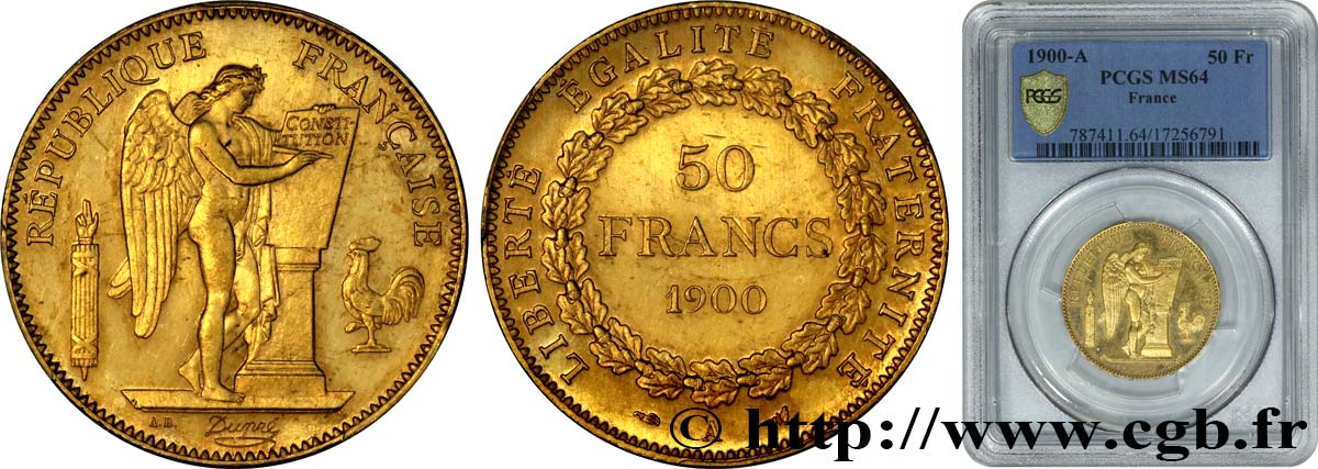50 francs or 1900 Paris F.549/5 SPL64 PCGS