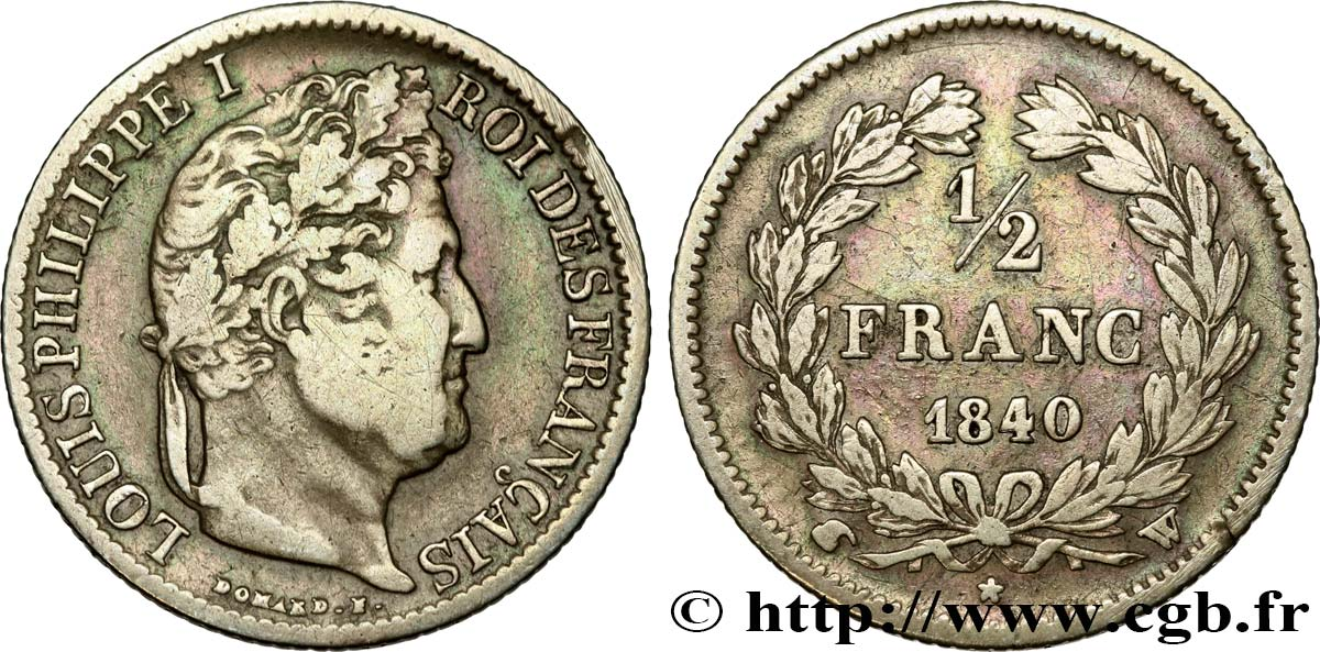 1/2 franc Louis-Philippe 1840 Lille F.182/87 TB25