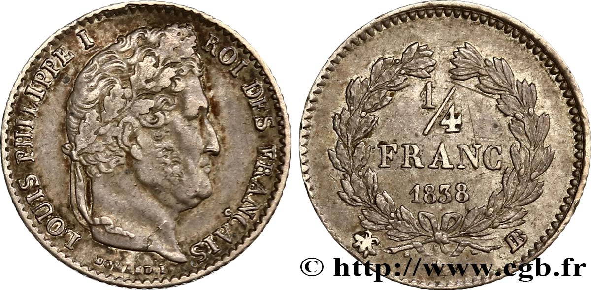 1/4 franc Louis-Philippe 1838 Strasbourg F.166/71 XF45