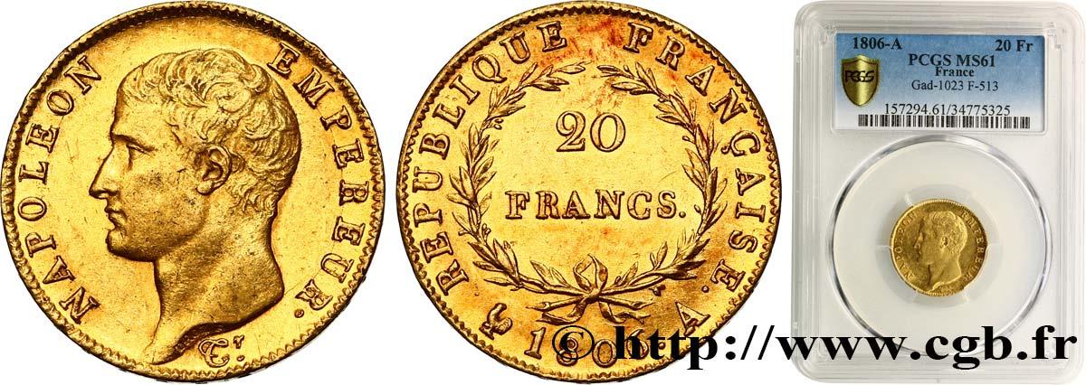 20 francs or Napoléon tête nue, Calendrier grégorien 1806 Paris F 513/1