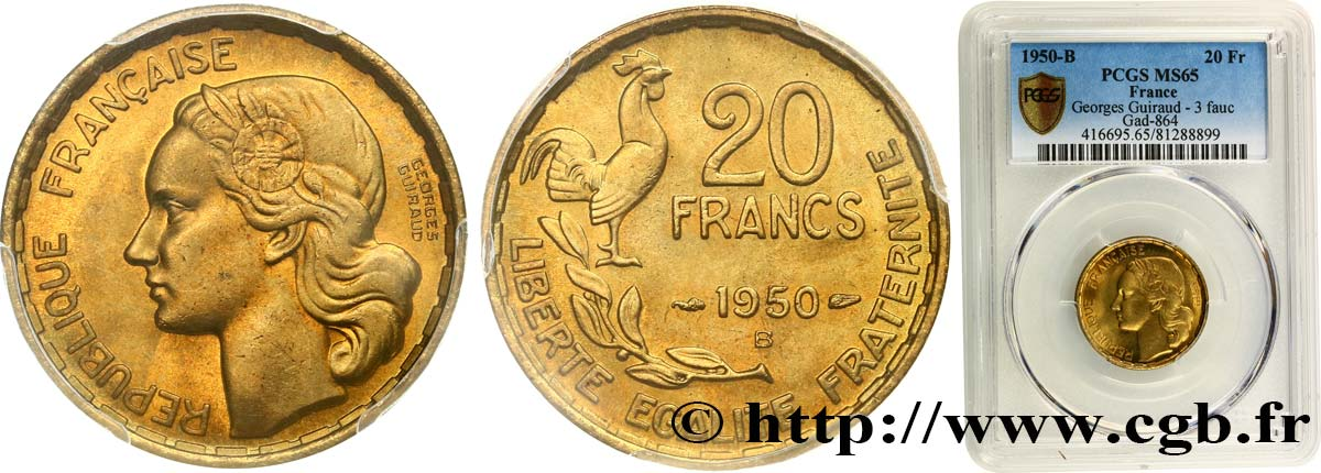 20 francs Georges Guiraud, 3 faucilles 1950 Beaumont-Le-Roger F.401/2 FDC65 PCGS