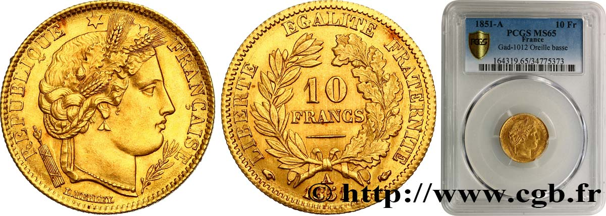 10 francs or Cérès, IIe République 1851 Paris F.504/3 FDC65 PCGS