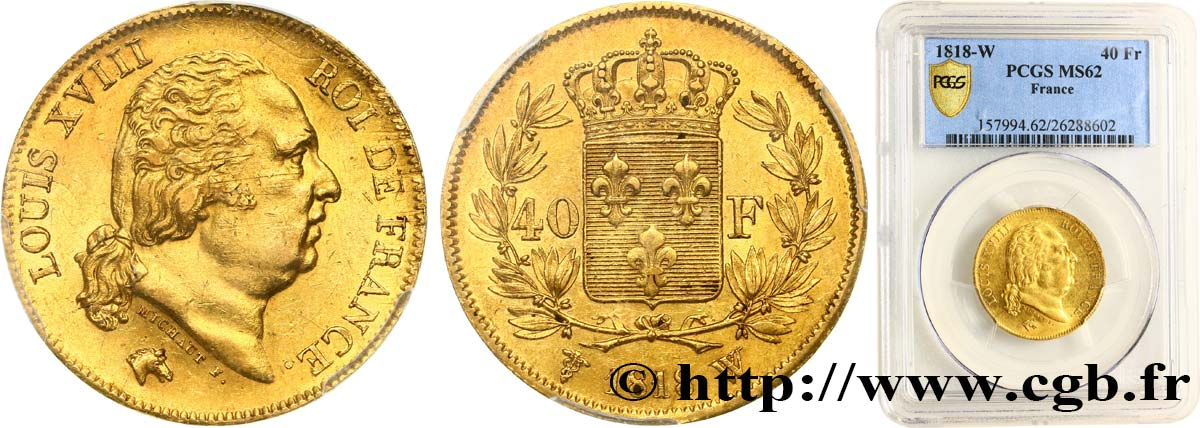 40 francs or Louis XVIII 1818 Lille F.542/8 SUP62 PCGS