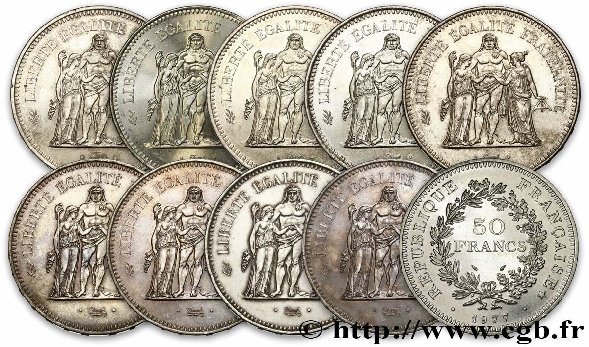 Lot de 10 pièces de 50 francs Hercule, ARGENT 1974 - 1979 F.427 ... 81c7a571010e