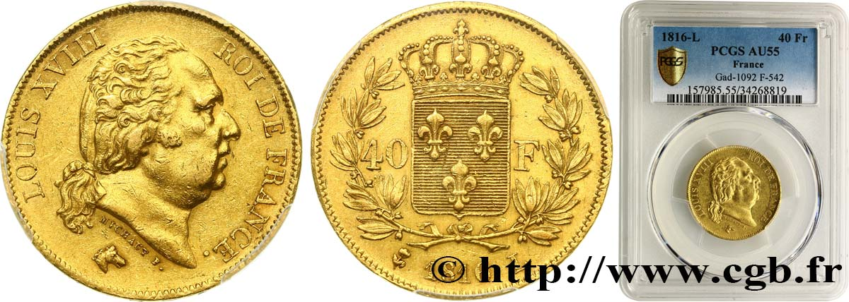 40 francs or Louis XVIII 1816 Bayonne F.542/3 SUP55 PCGS