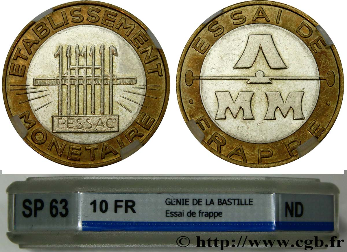Essai de frappe de 10 francs, bimétallique n d  Pessac GEM