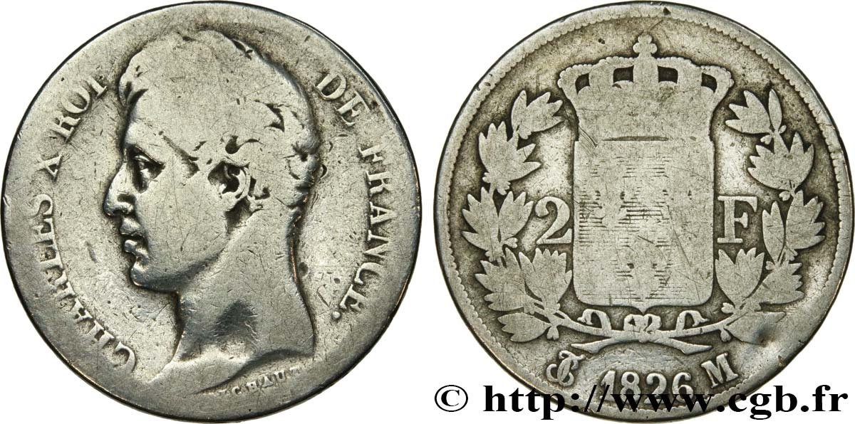 2 francs Charles X 1826 Toulouse F.258/20 B10