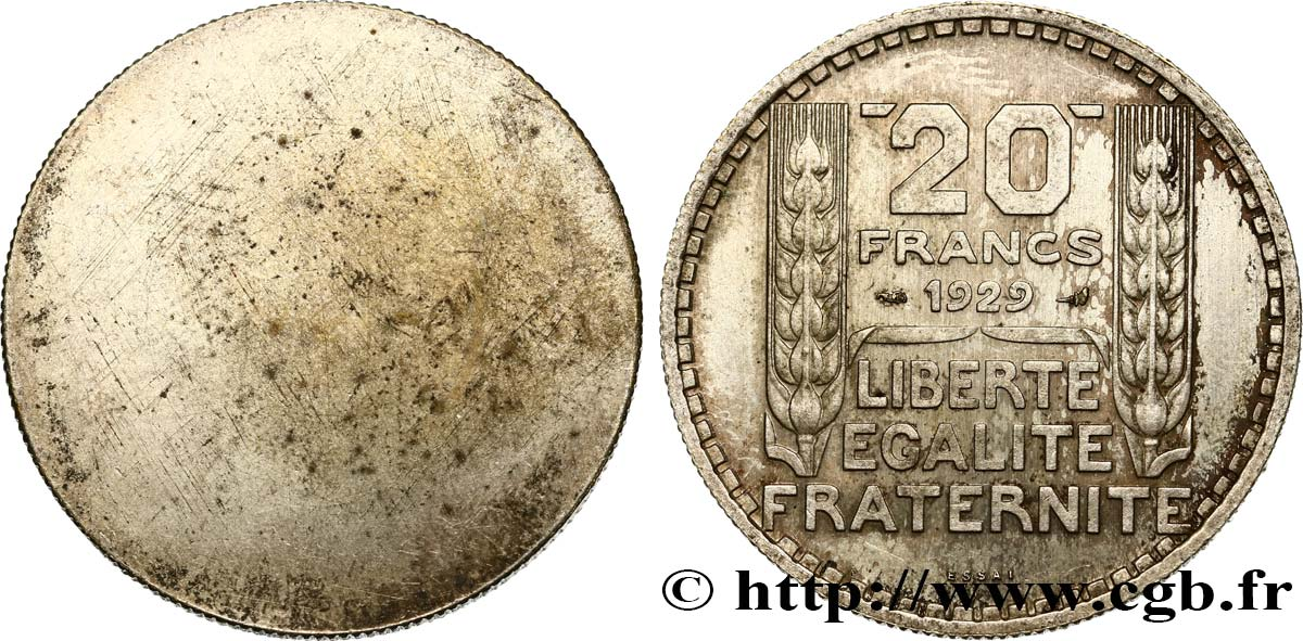 Essai uniface de revers de 20 francs Turin 1929 Paris GEM.199 2 SUP+