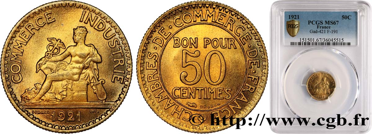 50 centimes Chambres de Commerce 1921 Paris F.191/3 FDC67 PCGS