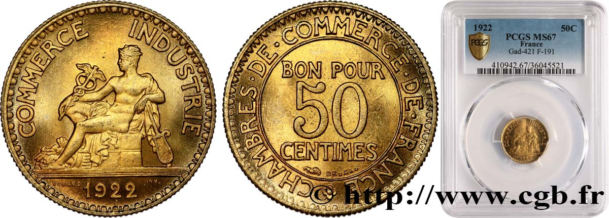 50 centimes Chambres de Commerce 1922 Paris F.191/4 MS67 PCGS