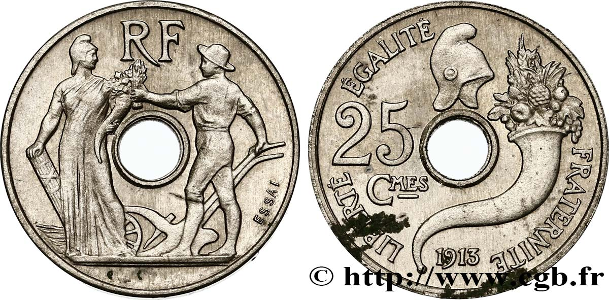 Essai de 25 centimes par Peter, petit module 1913 Paris GEM.72 3 MS