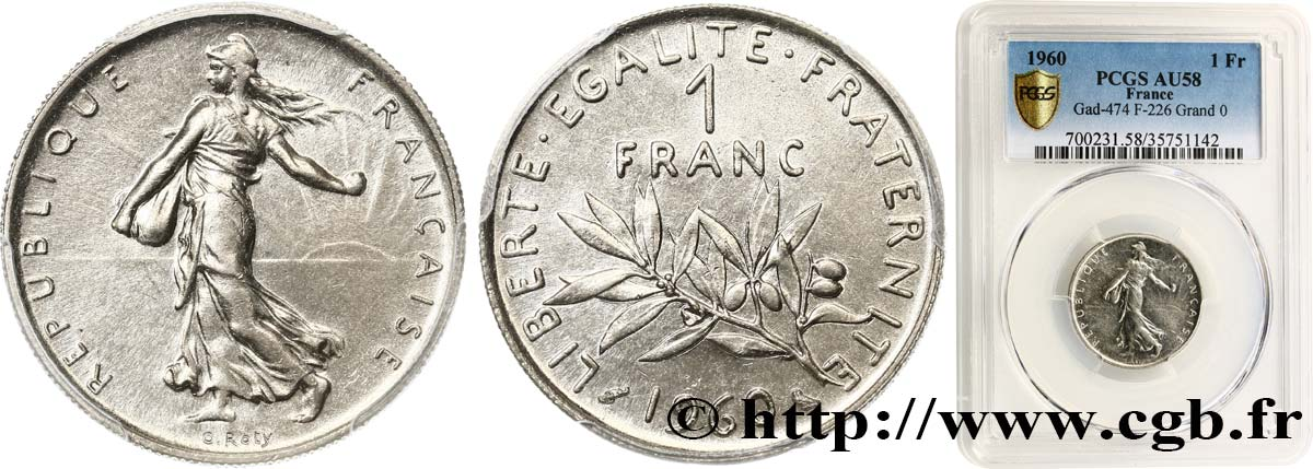 1 franc Semeuse, nickel 1960 Paris F.226/5 SUP58 PCGS