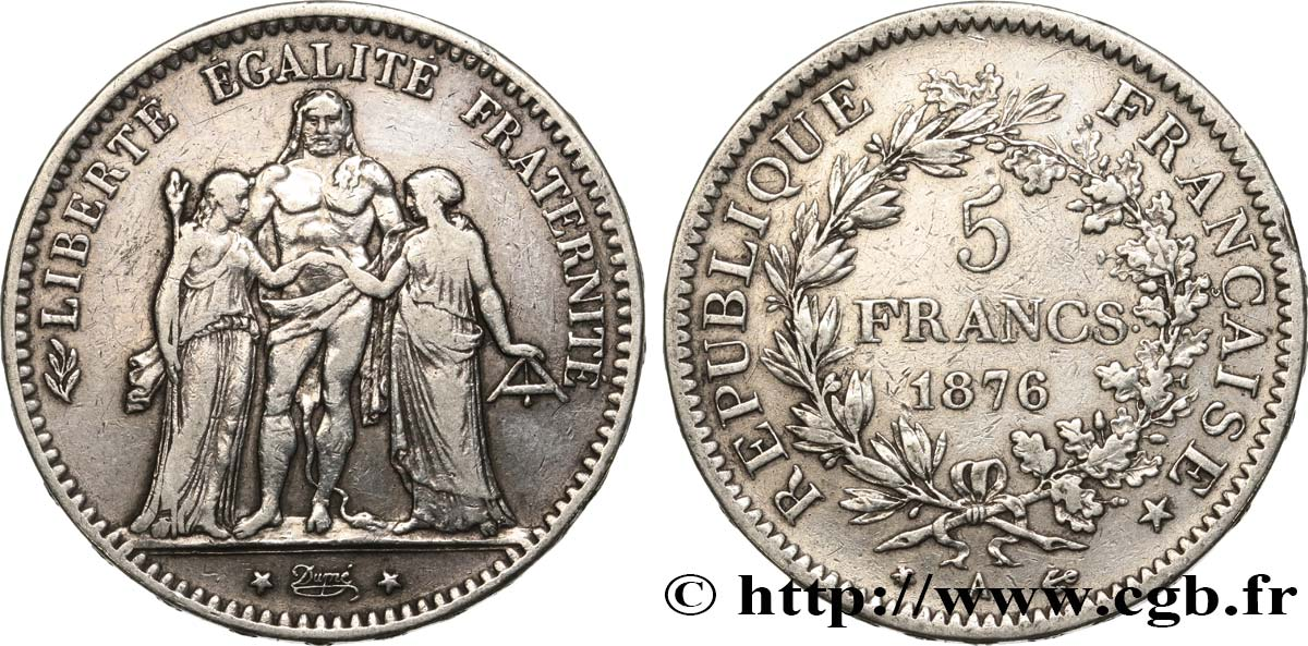 5 francs Hercule 1876 Paris F.334/17 TB25