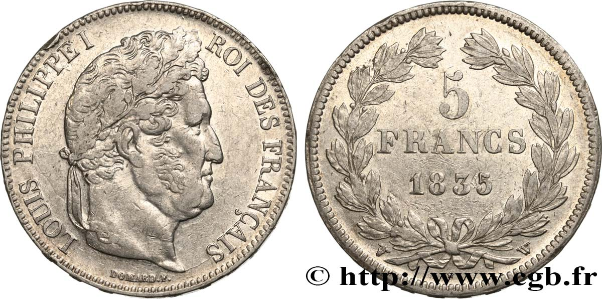 5 francs, IIe type Domard 1835 Lille F.324/52 TTB48