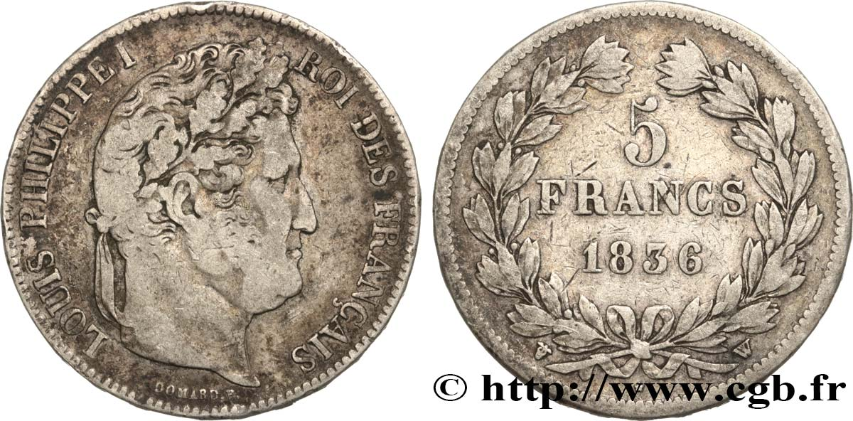 5 francs IIe type Domard 1836 Lille F.324/60 TB25