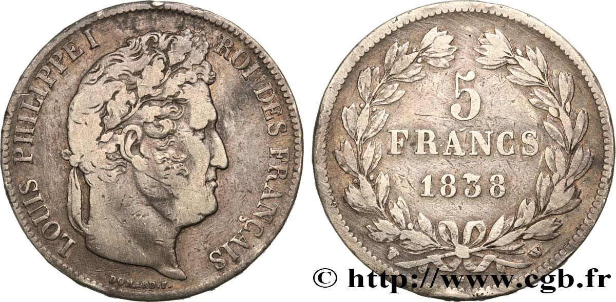 5 francs IIe type Domard 1838 Lille F.324/74 TB30