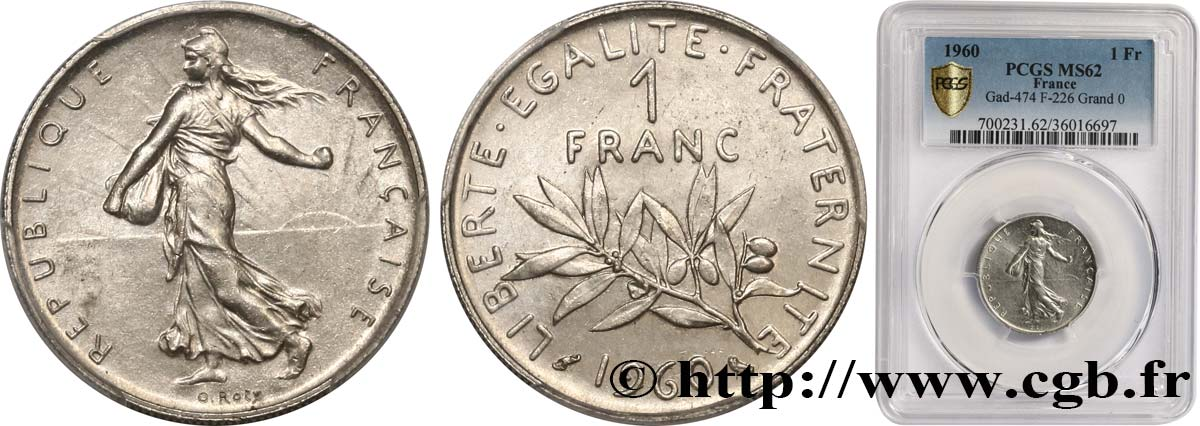 1 franc Semeuse, nickel 1960 Paris F.226/5 SUP62 PCGS