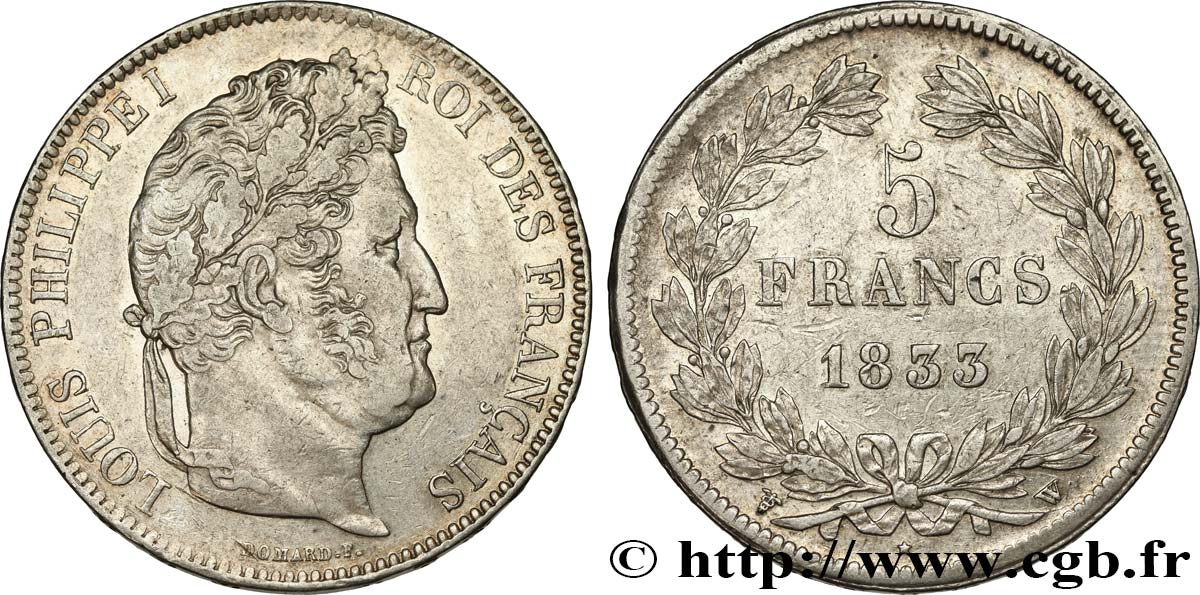 5 francs IIe type Domard 1833 Lille F.324/28 TTB45