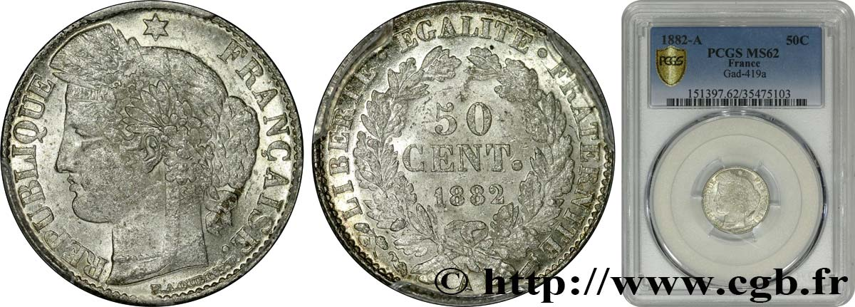 50 centimes Cérès, IIIe République 1882 Paris F.189/10 MS62 PCGS