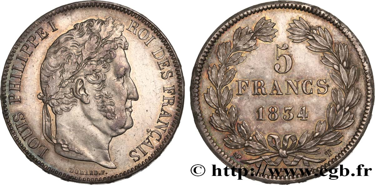5 francs, IIe type Domard 1834 Nantes F.324/40 SUP62