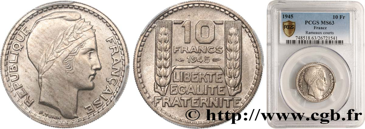 10 francs Turin, grosse tête, rameaux courts 1945  F.361A/1 MS63 PCGS