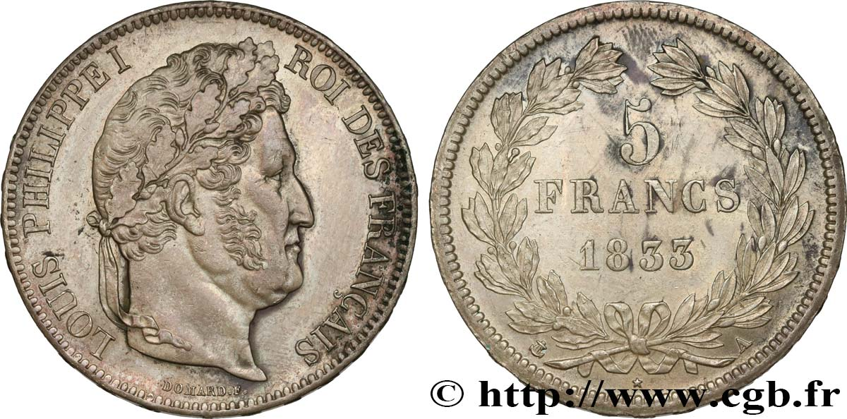 5 francs IIe type Domard 1833 Paris F.324/14 SUP58