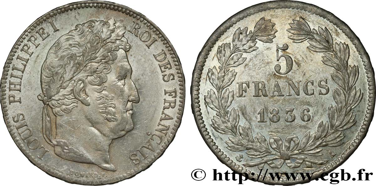 5 francs IIe type Domard 1836 Paris F.324/53 SUP55