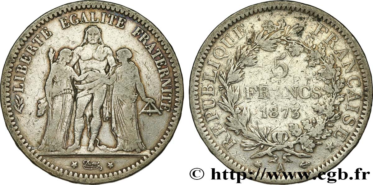 5 francs Hercule 1873 Paris F.334/9 MB