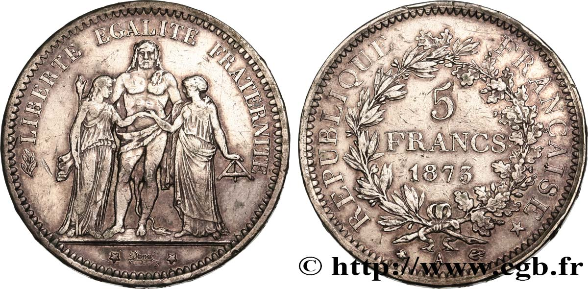 5 francs Hercule 1873 Paris F.334/9 TB