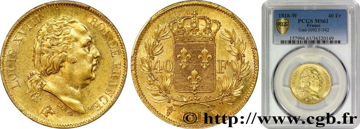 40 francs or Louis XVIII 1818 Lille F.542/8 SUP61 PCGS