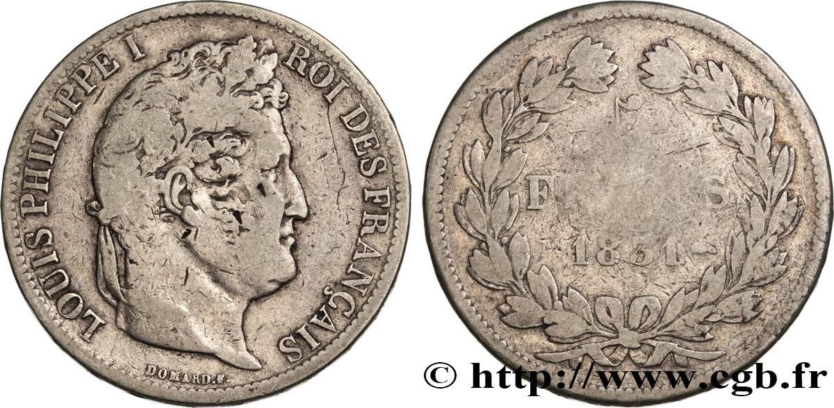 5 francs Ier type Domard, tranche en relief 1831 Strasbourg F.320/3 TB15