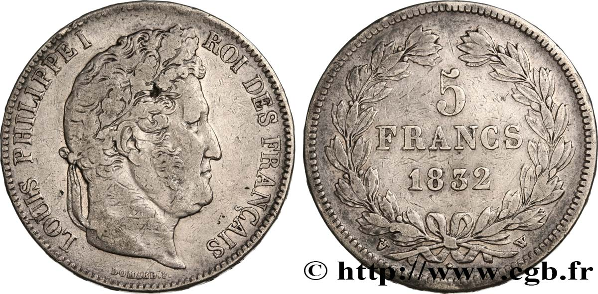 5 francs IIe type Domard 1832 Lille F.324/13 TB