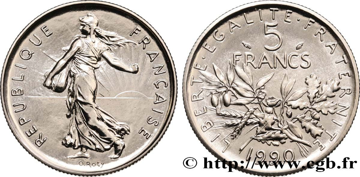 5 francs Semeuse, nickel 1990 Pessac F.341/22 MS