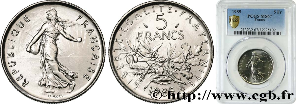 5 francs Semeuse, nickel 1985 Pessac F.341/17 MS67 PCGS