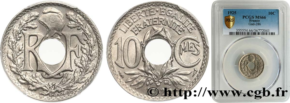 10 centimes Lindauer 1925  F.138/12 FDC66 PCGS