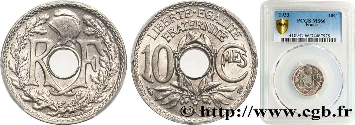 10 centimes Lindauer 1933  F.138/20 FDC66 PCGS