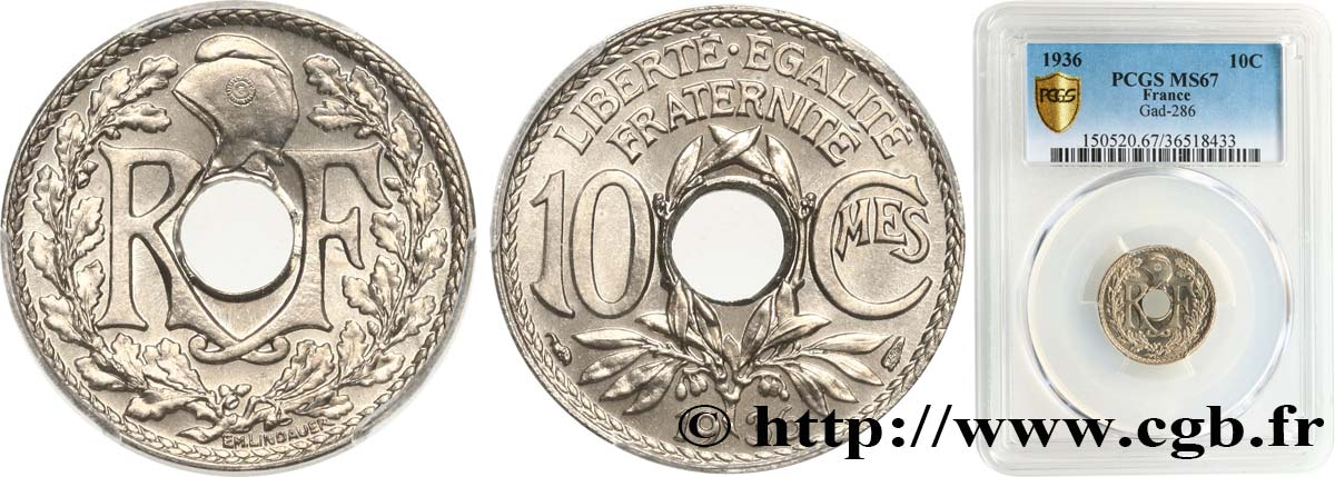 10 centimes Lindauer 1936  F.138/23 FDC67 PCGS