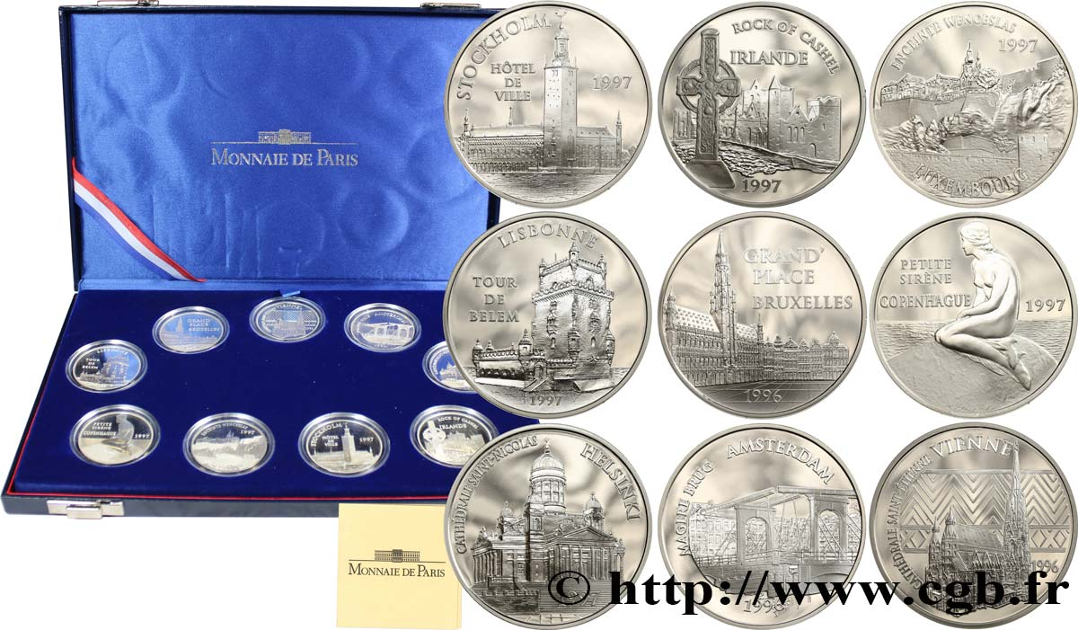 COFFRET des 9 Monnaies Belle Épreuve 15 euro / 100 francs - MONUMENTS ET SITES D'EUROPE - 1996-1997 n.d. Paris F5.2021à2029 1 ST