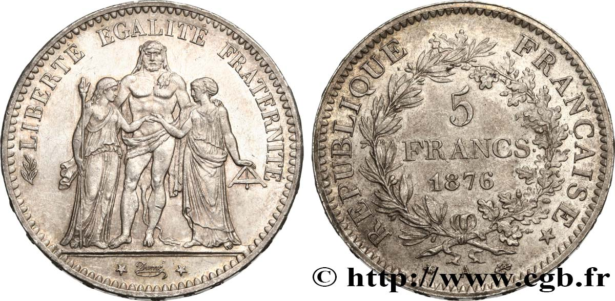 5 francs Hercule 1876 Paris F.334/17 SUP