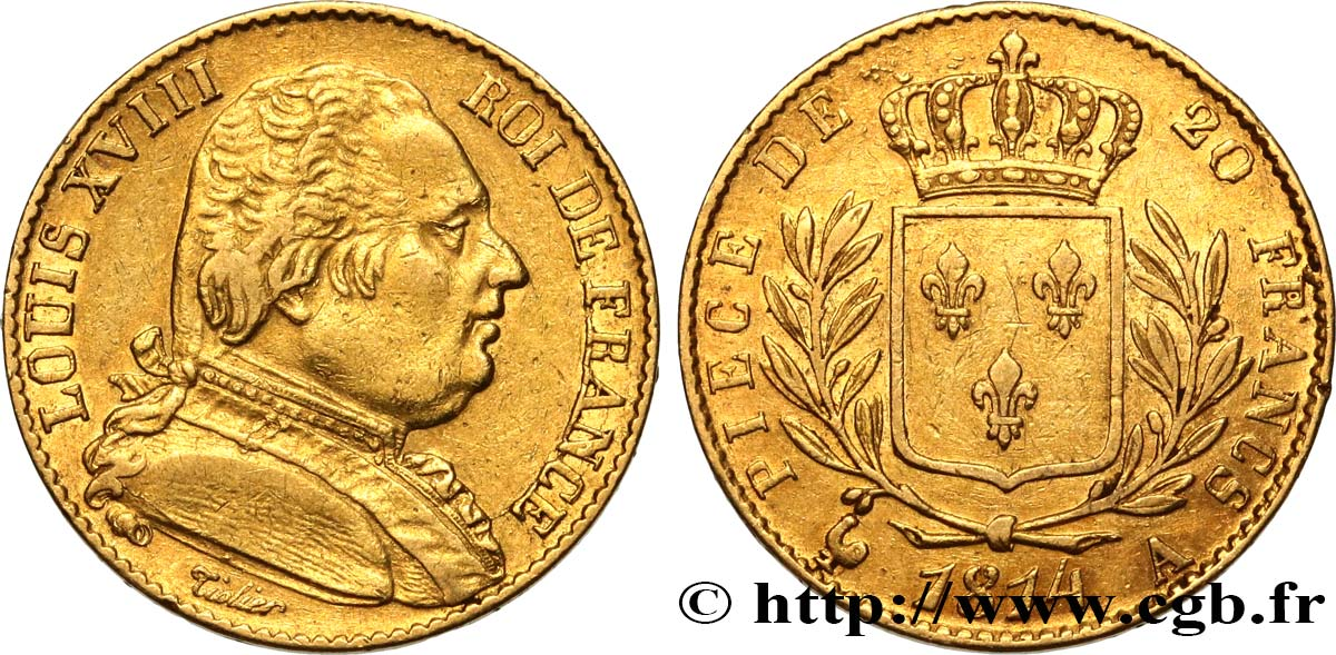 20 francs or Louis XVIII, buste habillé 1814 Paris F.517/2 TTB48