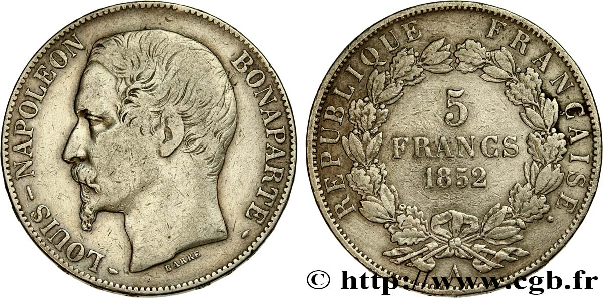 5 francs Louis-Napoléon, 2ème type 1852 Paris F.329/2 TB