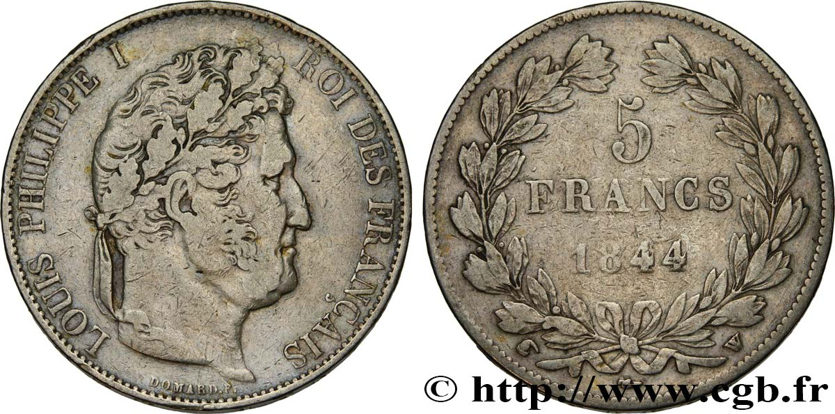 5 francs IIIe type Domard 1844 Lille F.325/5 TB