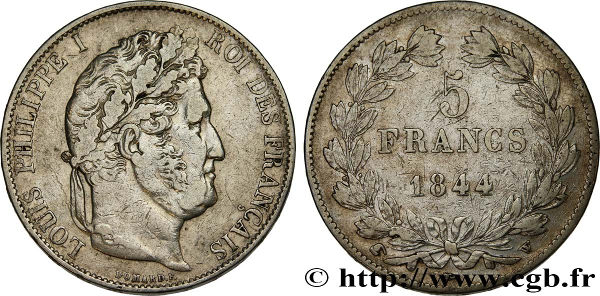 5 francs IIIe type Domard 1844 Lille F.325/5 TB+