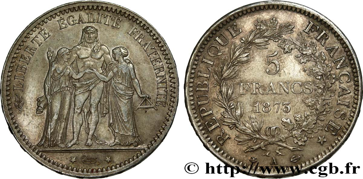5 francs Hercule 1873 Paris F.334/9 AU52