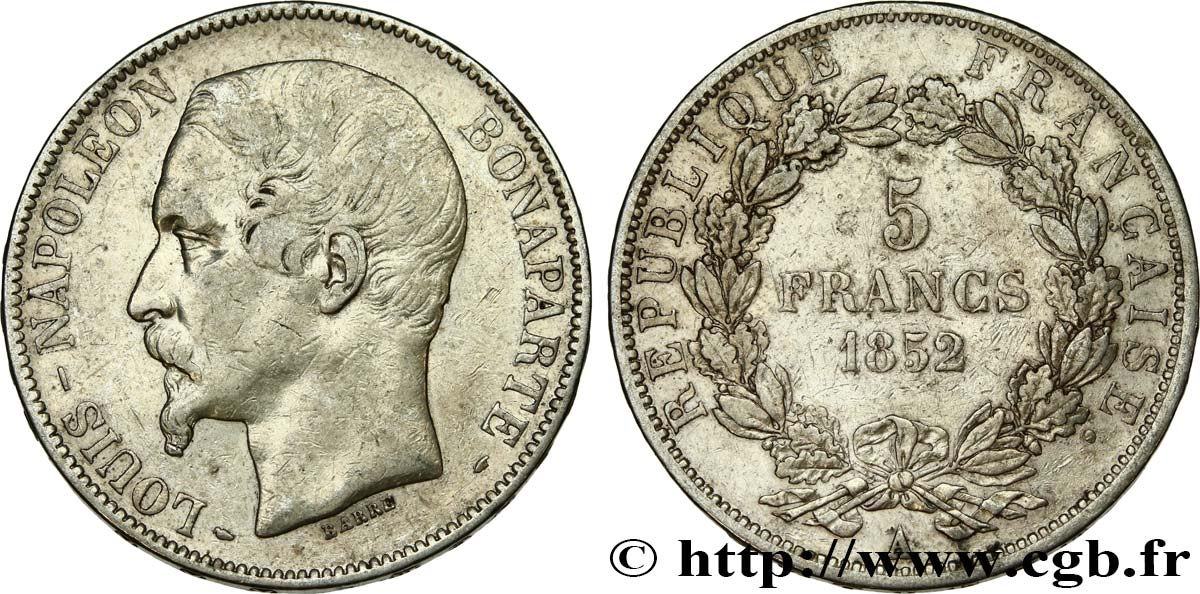 5 francs Louis-Napoléon, 1er type 1852 Paris F.329/1 TB+